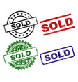 scratched textured sold seal stamps vector image