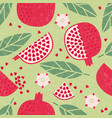 seamless pattern pomegranate leaves flowers shabby vector image vector image