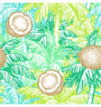 seamless pattern with coconut and palm trees vector image