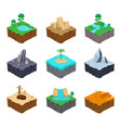 set isometric game islands cute lake river vector image