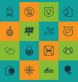 set of 16 eco-friendly icons includes snow save vector image vector image