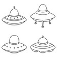 set of alien spaceships icon isolated on white bac vector image vector image