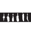 set of detailed feather silhouette isolated on a vector image vector image