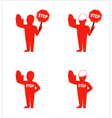 set of flat icons denoting stop vector image vector image
