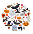 set of halloween icons in circle shape background vector image vector image