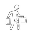 shopper with shopping bag line icon vector image vector image