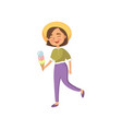 smiling young woman in a hat walking and eating vector image vector image