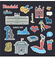 stickers collection with spain symbols vector image