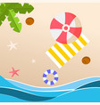 summer beach red umbrella yellow beach mat backgro vector image
