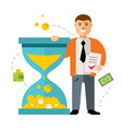 time is money concept flat style colorful vector image vector image