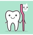 Tooth and toothbrush are best friends vector image vector image