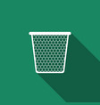 trash can icon with long shadow flat design vector image vector image