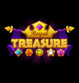 treasure logo banner with golden crown and gem vector image