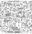 trees and houses seamless pattern winter vector image vector image