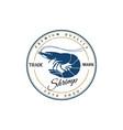 vintage retro shrimp logo for seafood restaurant vector image vector image