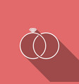 wedding rings icon isolated with long shadow vector image vector image
