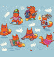 winter pattern with foxes characters in cartoon vector image