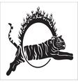 Tribal tiger jump outline vector image