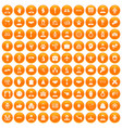 100 handshake icons set orange vector image vector image