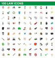 100 law icons set cartoon style