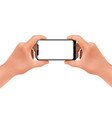 3d realistic hands holding smartphone mock vector image