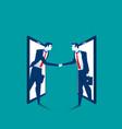 agreement businessman handshake on smartphone vector image