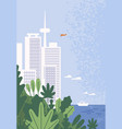 amazing modern city with skyscrapers at seaside vector image