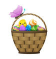 basket with easter eggs chiken and butterfly vector image