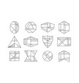 black abstract line geometrical shapes icons set vector image vector image