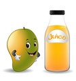 bottle of mango juice with cute mango cartoon vector image