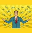 businessman and money rain pop art vector image vector image