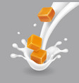 caramel in milk splash realistic vector image
