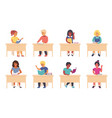 children reading in school cartoon cute school vector image