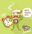 Coffee man character standing with his hands on vector image
