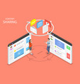 content sharing flat isometric concept vector image vector image