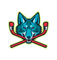 coyote ice hockey sports mascot vector image vector image
