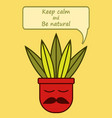 cute cartoon flower pot with mustache and phrase vector image