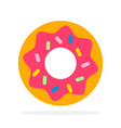donut with pink icing flat material design vector image vector image