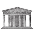 doric temple the front elevation vintage engraving vector image vector image