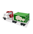 Flatbed Trailer Loading Wooden Crates in Container vector image vector image