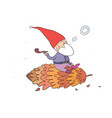 forest elf sitting on a bump little cartoon gnome vector image