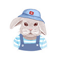 hand drawn portrait of rabbit with accessories vector image