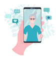 hand holding smartphone with video call to mother vector image vector image