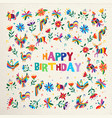 happy birthday card with flower and animal art vector image vector image