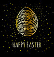 happy easter greeting card with golden hand drawn vector image vector image