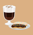 hot drink with cakes poster vector image vector image