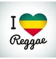 I love Reggae Heart Jamaican music vector image vector image