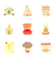 marriage ceremony icons set cartoon style vector image vector image