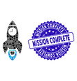mosaic space rocket time icon with distress vector image vector image