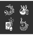 Music design elements and note icons set vector image vector image